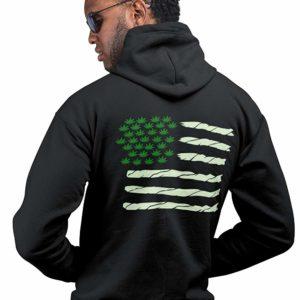 420 Spliff Flag Hoodie black