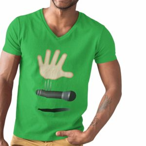 Drop The Mic V-Neck T-Shirt Green
