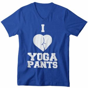 I Love Yoga V-Neck T-Shirt Blue