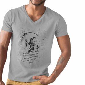 Intelligent life V-neck t-shirt Grey