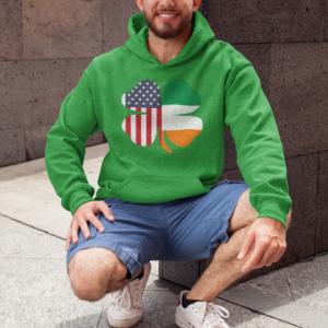 Irish American St Patricks Day Hoodie green