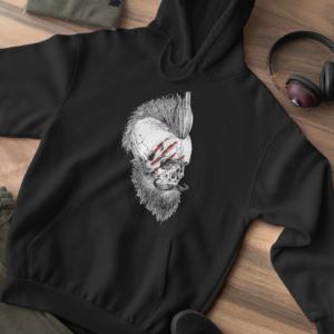mohawk skull goth hoodie black