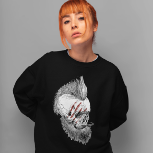 mohawk skull goth sweatshirt black