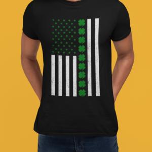 Irish American Flag St Patricks's Day t shirt black